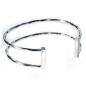 Modern Faceted Silver Double Row Thin Open Cuff